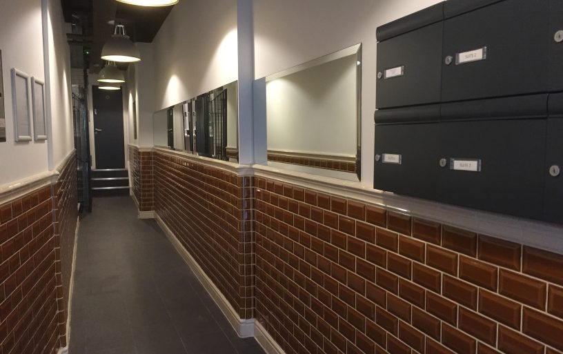 brown tiled reception