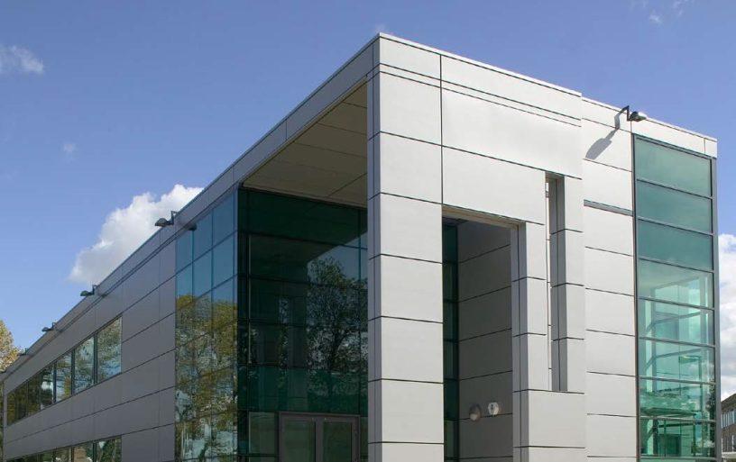 grey glad office building