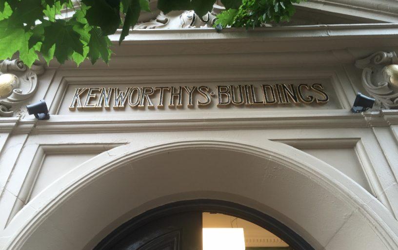 Sign above door at Kenworthy's Buildings in Manchester